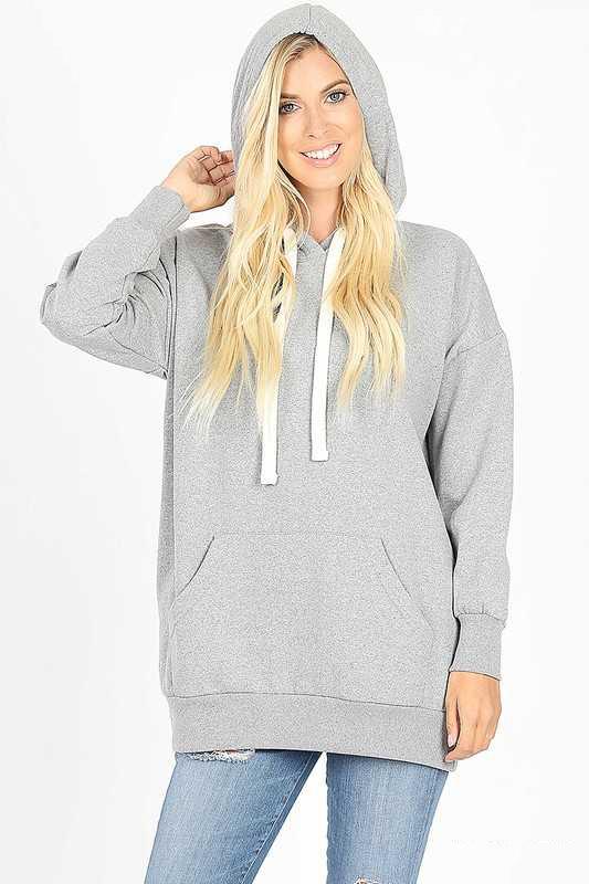 H Gray Hoodie Sweatshirt With Kangaroo Pocket