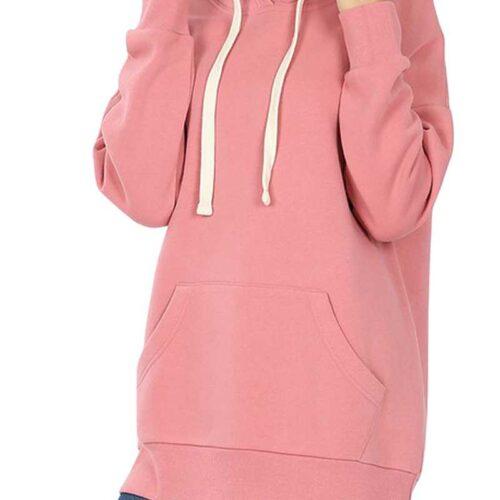 Dusty Rose Hoodie Sweatshirt With Kangaroo Pocket