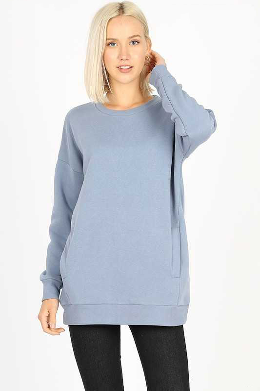 Cement Long Sleeve Round Neck Sweatshirt Top With Pockets