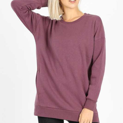 Eggplant Long Sleeve Round Neck Sweatshirt Top With Pockets