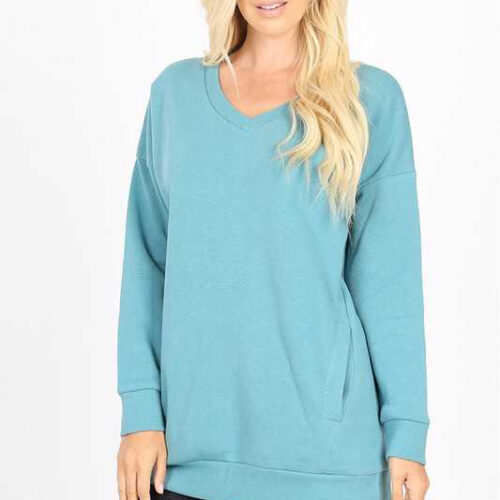 Dusty Teal Long Sleeve V Neck Sweatshirt Top With Pockets