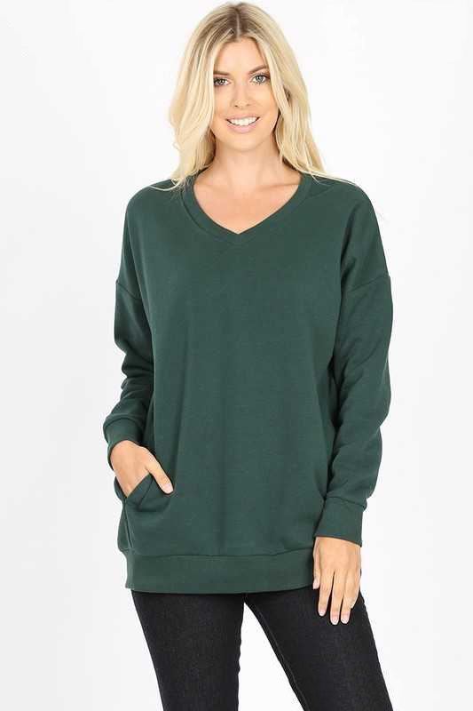 Hunter Green Long Sleeve V Neck Sweatshirt Top With Pockets