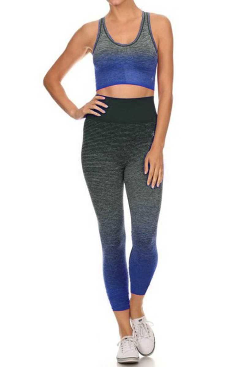 Royal Blue Premium Seamless Yoga Set Front