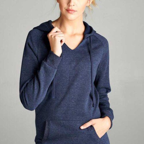 Heather Navy Raglan Long Sleeve V-Neck Drawstring Hoodie With Kangaroo Pocket