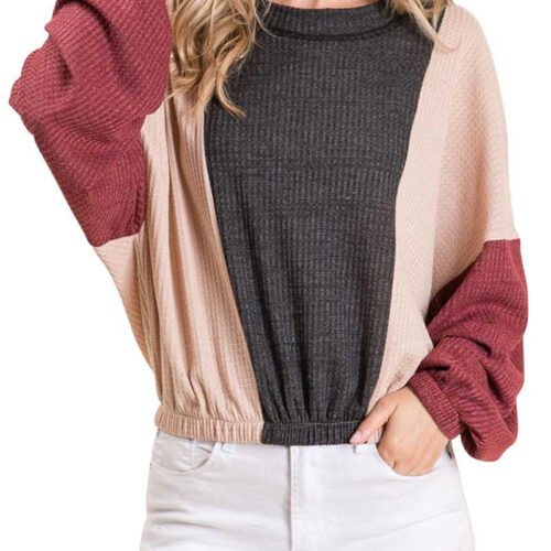 Charcoal Waffle Knit Color Block Wide Sleeve Sweatshirt Front