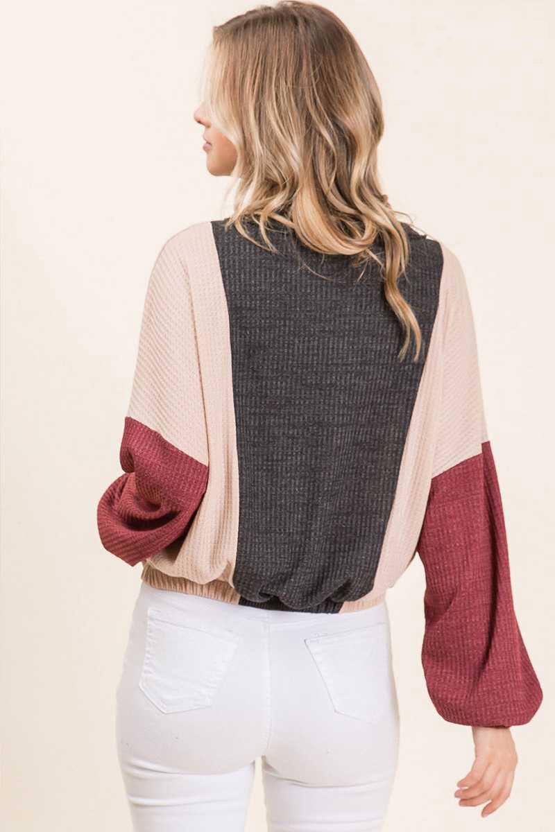 Charcoal Waffle Knit Color Block Wide Sleeve Sweatshirt Back