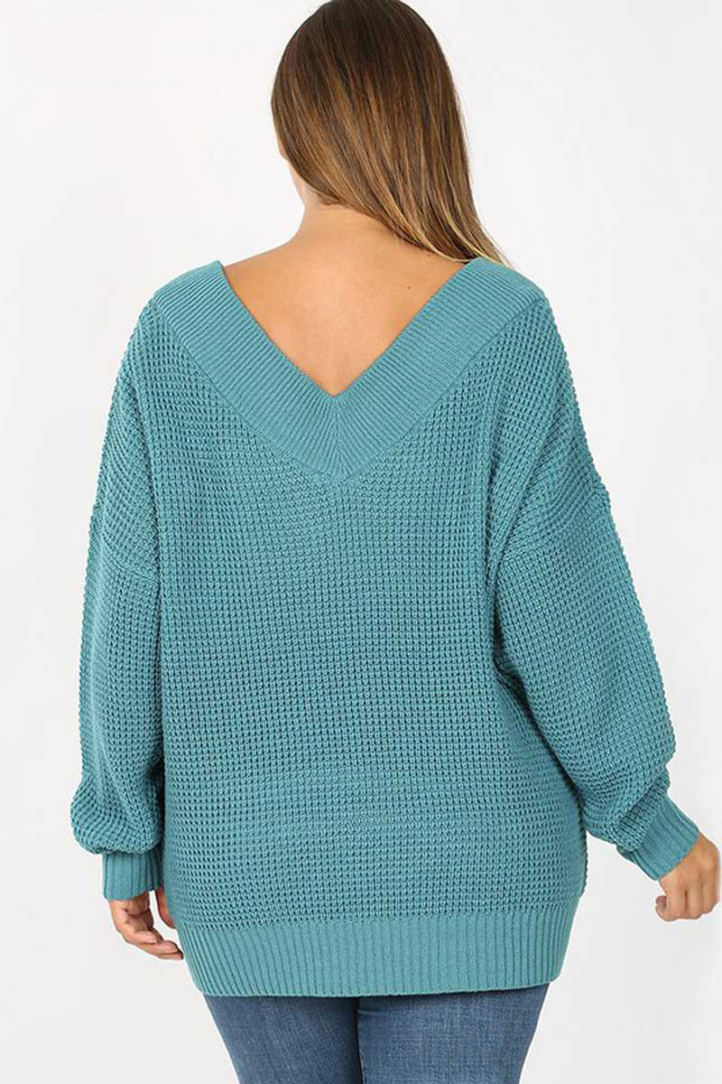 Teal Long Sleeve Wide Double V Neck Waffle Knit Sweater