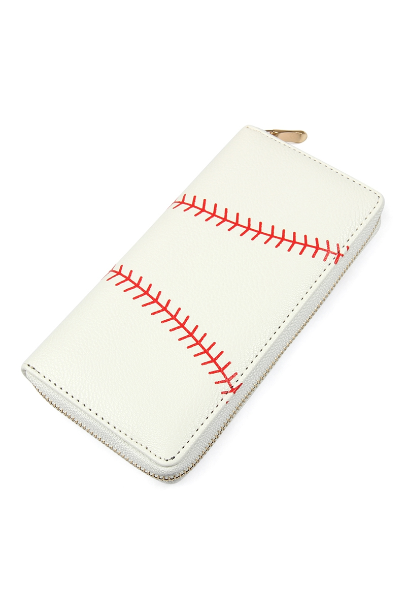 Leather Baseball Zipper Wallet
