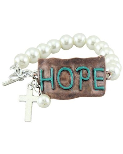 Hope Pearl Beaded With Cross and Pearl Charms Link Lock Bracelet