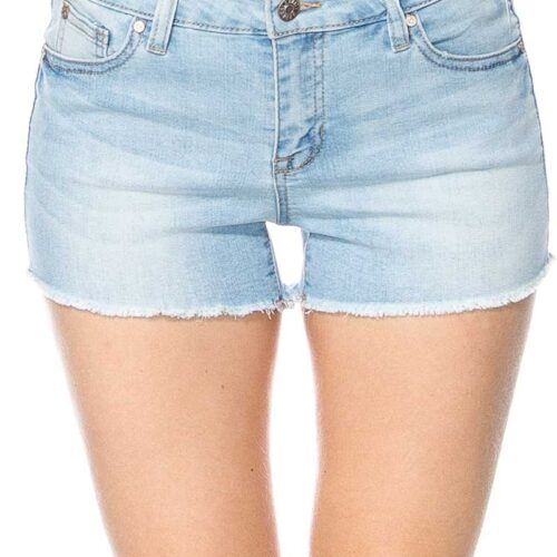 Mid Rise Light Denim Washed Jean Shorts