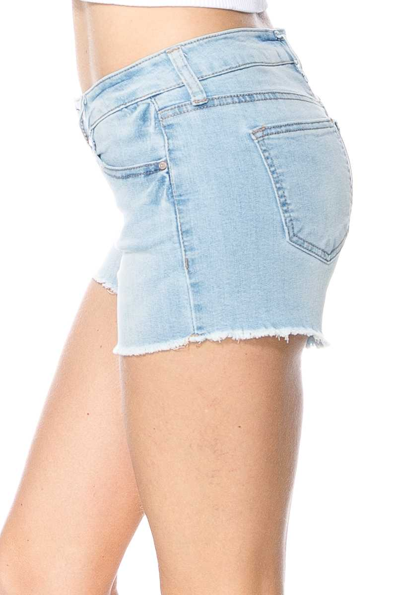 Mid Rise Light Denim Washed Jean Shorts