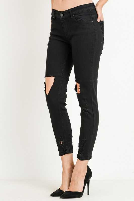 Destroyed Denim Fitted Jeans