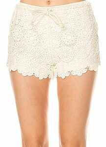 Solid Aboriginal Crochet Detail Shorts Front