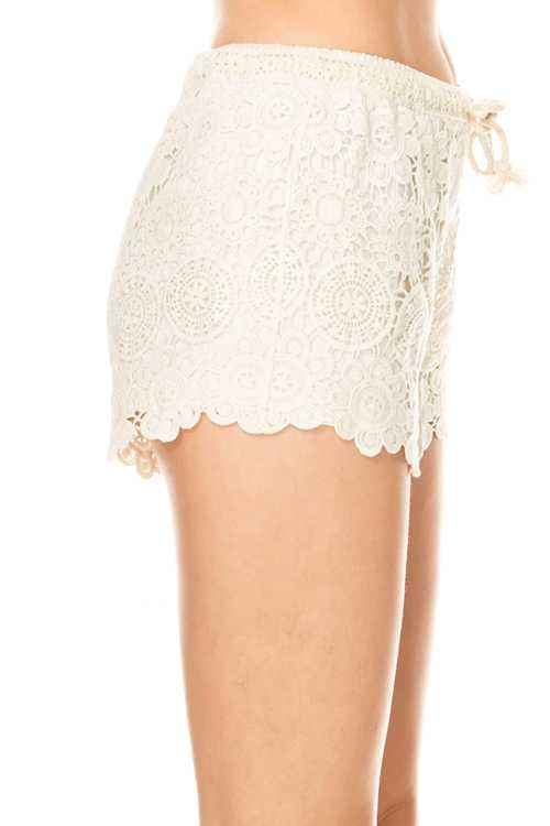Solid Aboriginal Crochet Detail Shorts Side