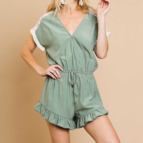 Sage Lace Details V Neck Romper With Ruffled Trim