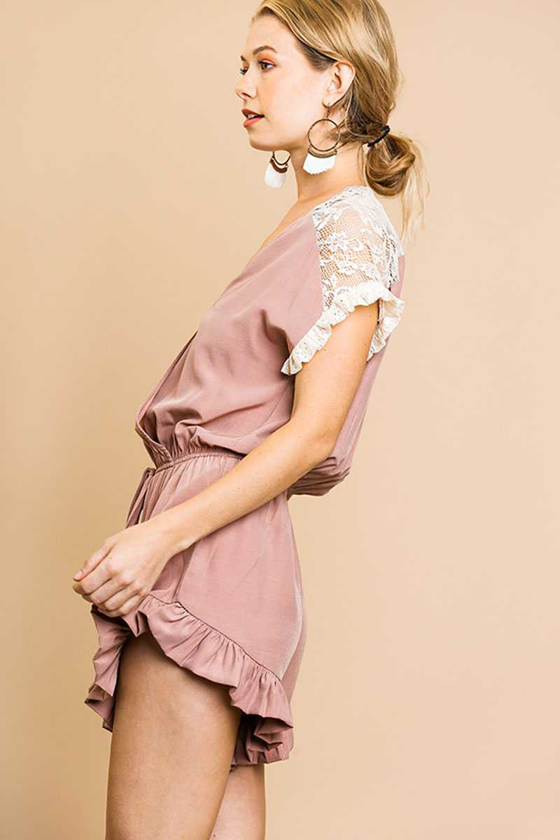 Mauve Lace Details V Neck Romper With Ruffled Trim