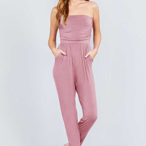 Pink Tube Top Jumpsuit With Pockets