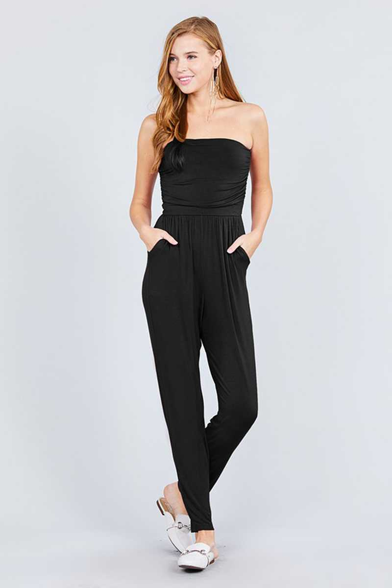 Black Tube Top Jumpsuit With Pockets