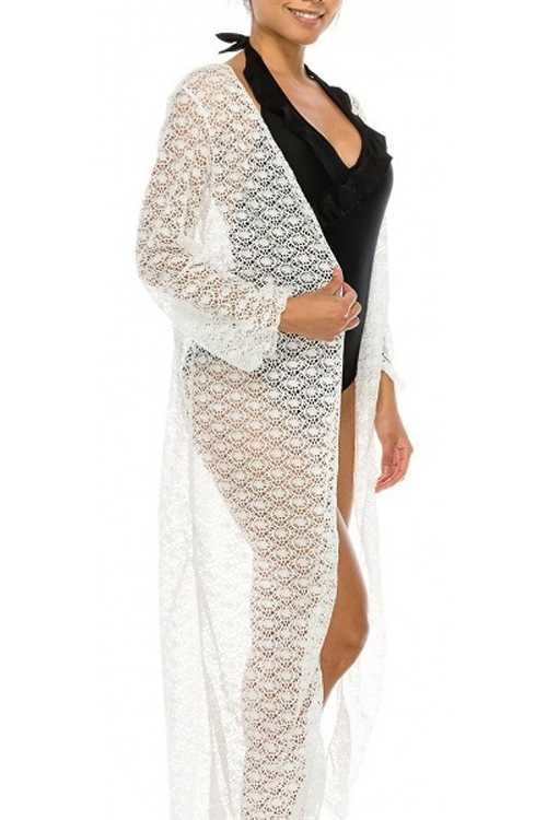 White Open Long Sleeve Swimsuit Cover Up