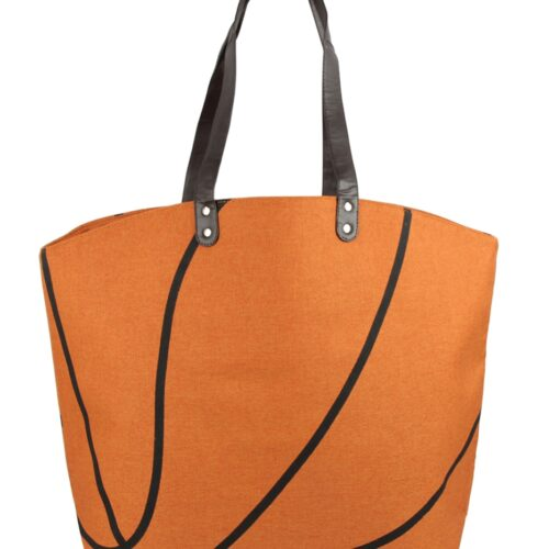 Leather Basketball Tote Bag