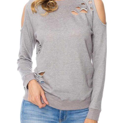 Heather Gray Distressed Cold Shoulder Sweatshirt