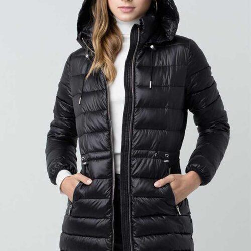 Black Ultra Lightweight Long Line Padded Puffer Coat Front