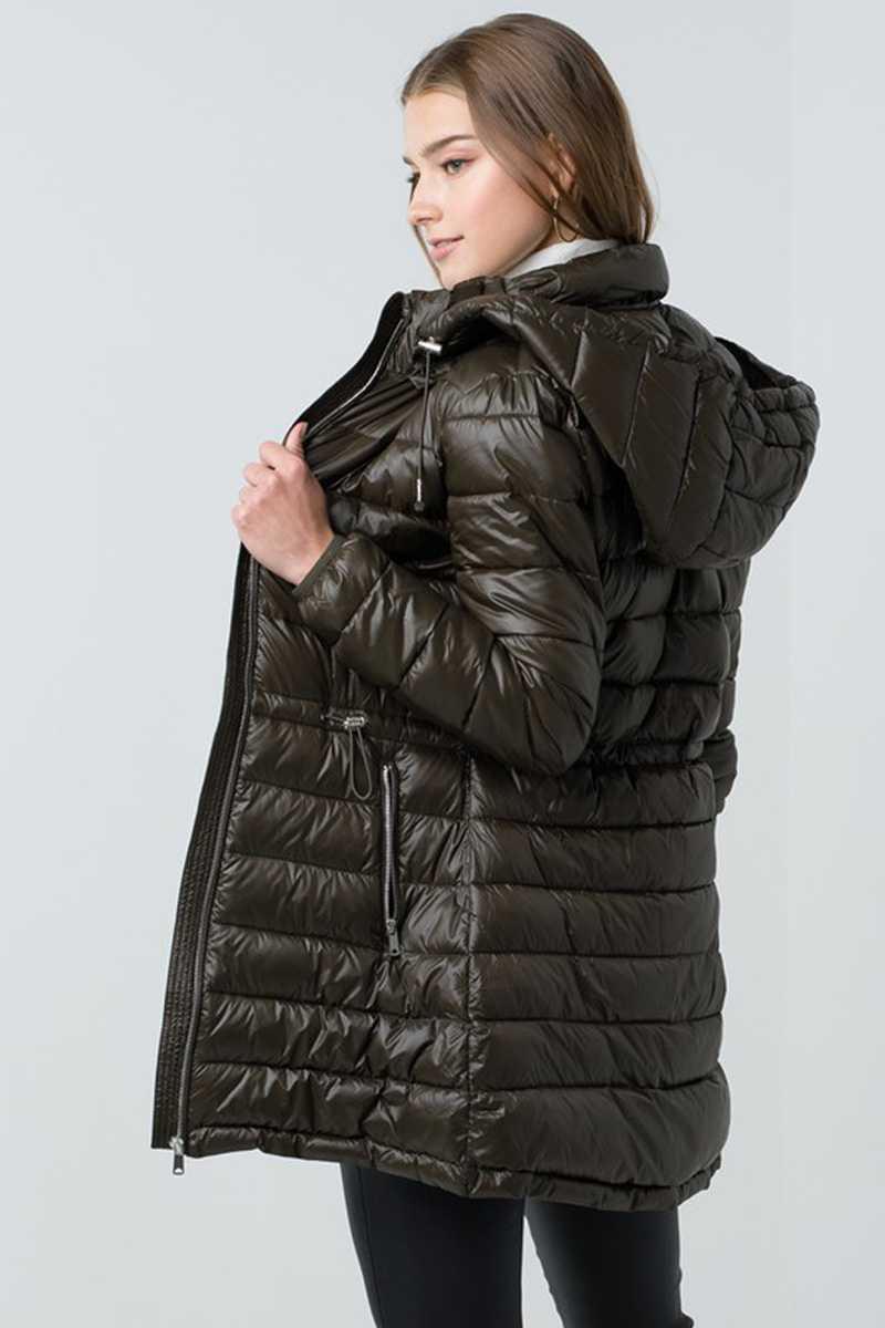 Ultra Lightweight Long Line Padded Puffer Coat Back
