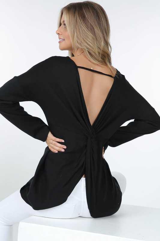 Cutout Back Twist Detail Long Sleeve Knit Top Back