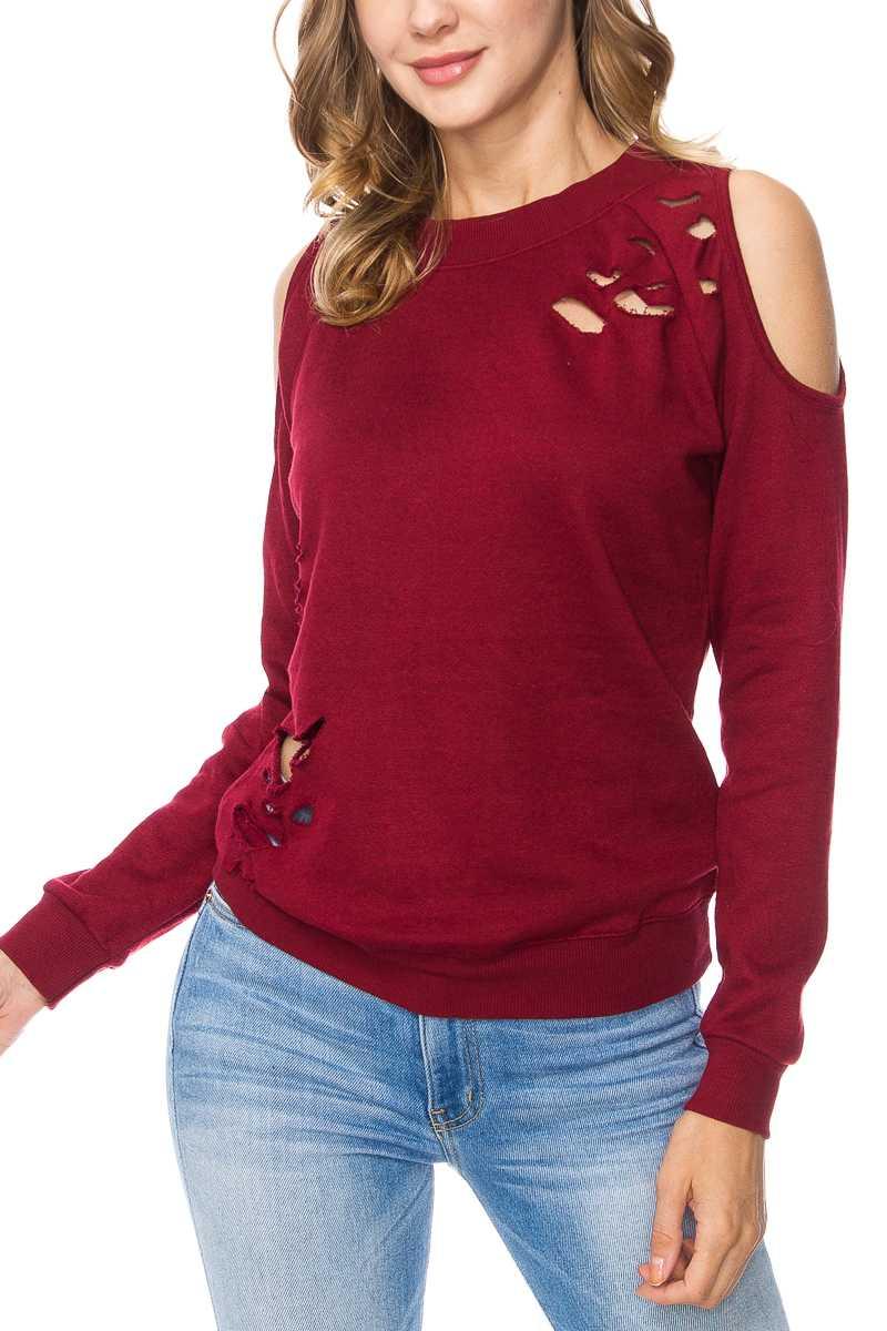 Distressed Cold Shoulder Sweatshirt Burgundy