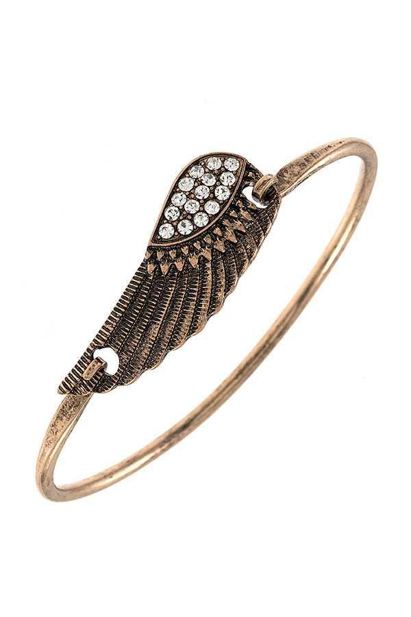 Etched Wing Bangle Bracelet Burnished Gold