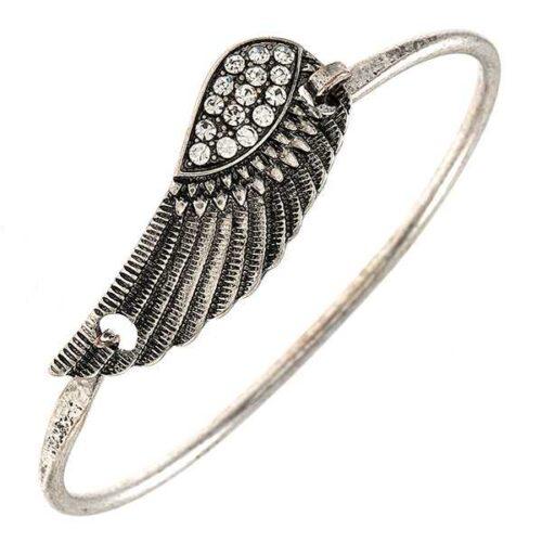 Etched Wing Bangle Bracelet Burnished Silver
