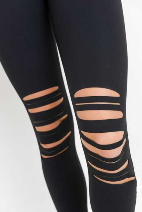 High Waist Laser Cut Shredded Knees Leggings