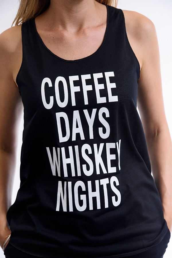 """Coffee Days Whiskey Nights"" Tank Top"
