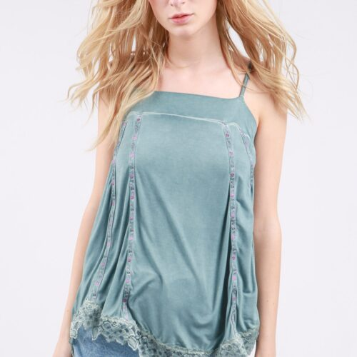 Flowy High Low Top with Scallop Lace Detail Front