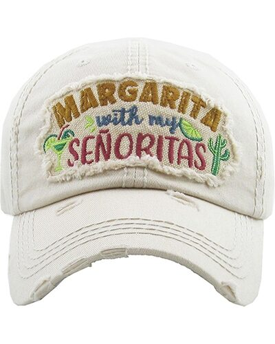 """Margarita With My Señoritas"" Velcro Adjustable Strap Hat White"