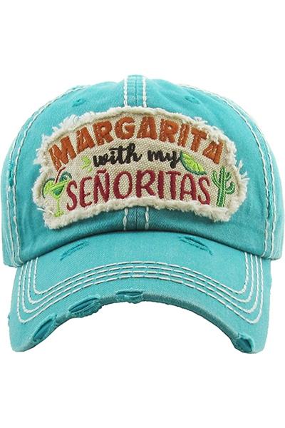 """Margarita With My Señoritas"" Velcro Adjustable Strap Hat Turquoise"