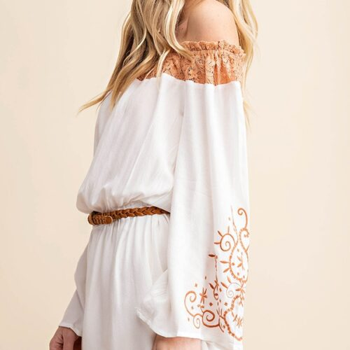 Lace Yoke Embroidered Sleeve Romper