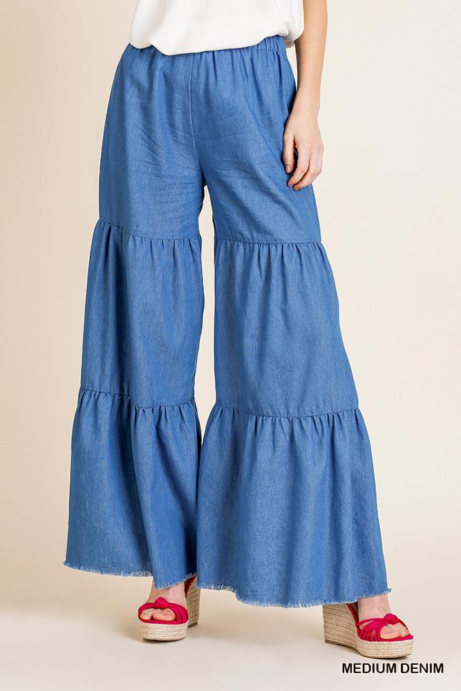 High Waisted Denim Fabric Wide Ruffle Leg Pant With Elastic Waist
