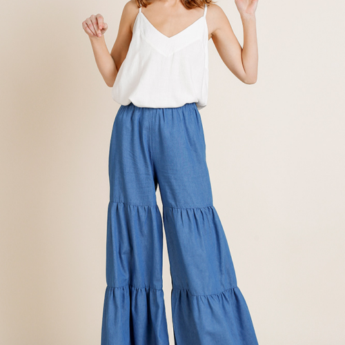 High Waisted Denim Fabric Wide Ruffle Leg Pant With Elastic Waist