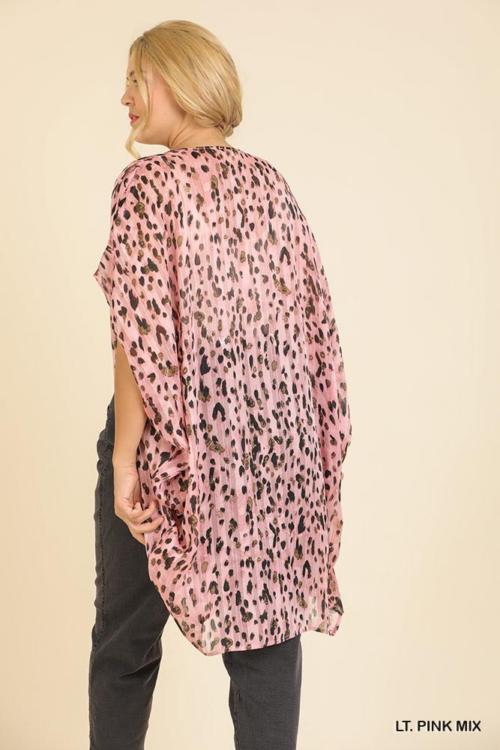 Animal Print Short Sleeve Open Front Cocoon Ham Kimono