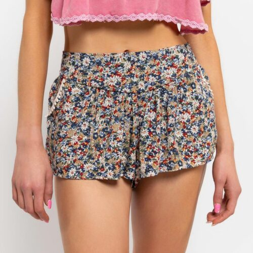 Smock Waist Ditzy Print Shorts Beige Front