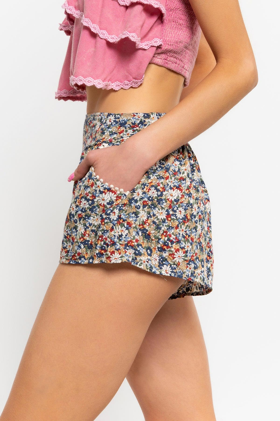 Smock Waist Ditzy Print Shorts Beige Side