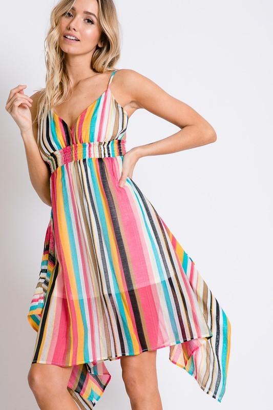 Vibrant Striped Draped Cami Dress Side