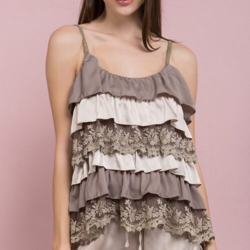 Cascading Ruffle Camisole Top With Lace Accents Burnt Olive Front