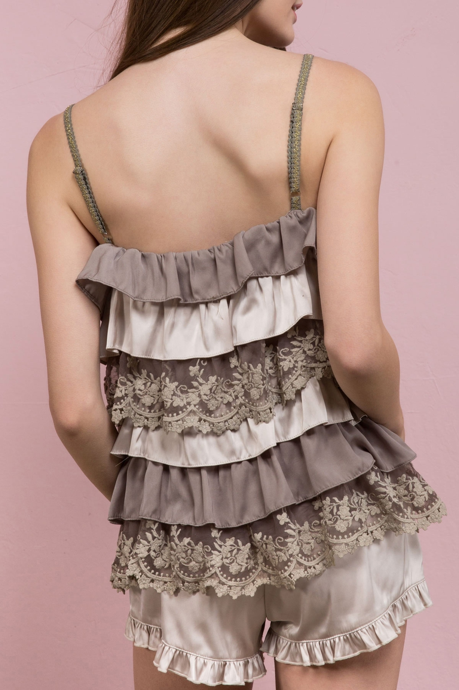 Cascading Ruffle Camisole Top With Lace Accents Burnt Olive Back