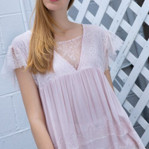 Loose Fit Top with Chest and Shoulder Lace Detailing Front