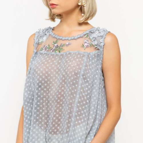 Sleeveless Floral Top with Mesh Front and Pleated Back Cascade