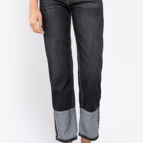 Wide Cuffed Boyfriend Jeans with Vintage Washed Detail Front