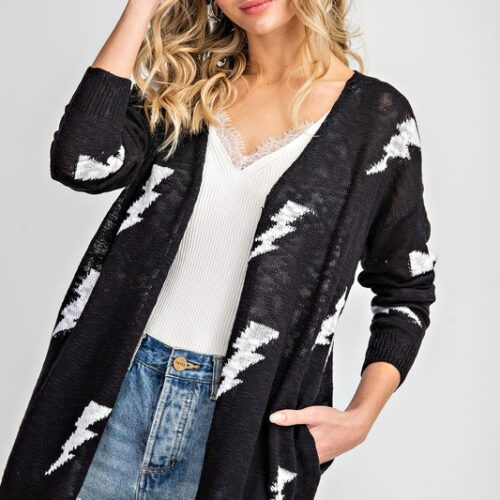 Thunder Bolt Open Front Cardigan Front