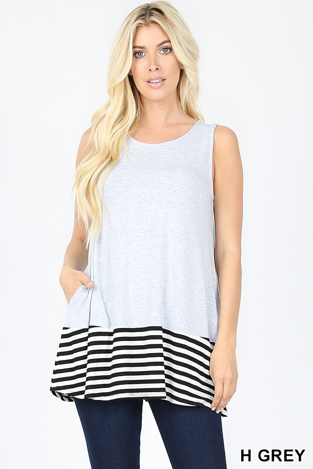 Striped and Solid Sleeveless Round Neck Top with Side Pockets Heather Gray